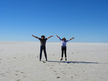 Walk on Lake Eyre and the pink salt lake in Lochiel on our Lake Eyre 4wd Tours.